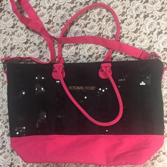 Victoria's Secret Handbags - [Victoria's Secret] black pink tote bag purse